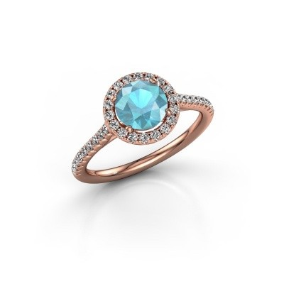 Picture of Engagement ring Seline rnd 2 375 rose gold blue topaz 6.5 mm