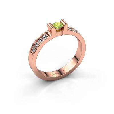 Verlovingsring Sofie 2 375 rosé goud peridoot 3.4 mm