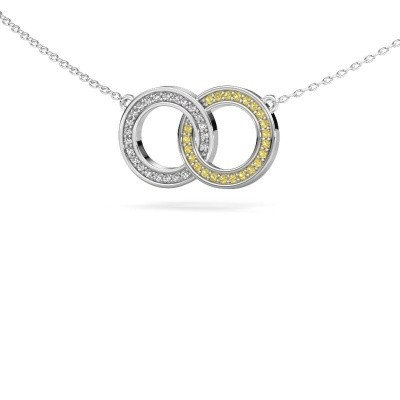 Ketting Circles 1 585 witgoud gele saffier 1 mm