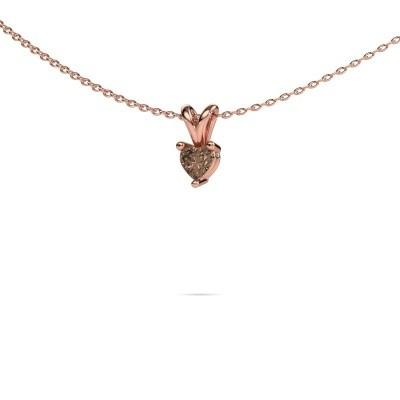 Foto van Ketting Garnet 375 rosé goud bruine diamant 0.25 crt