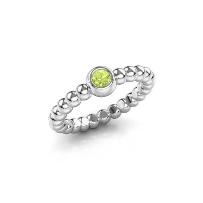 Stackable ring Dini 585 white gold peridot 3 mm