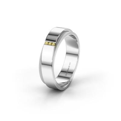 Trouwring WH6012LX6A 925 zilver gele saffier ±6x1.7 mm
