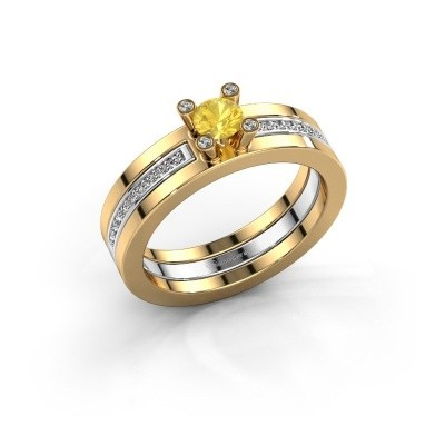 Foto van Ring Alisha 585 goud gele saffier 4 mm