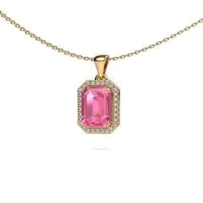 Ketting Dodie 375 goud roze saffier 9x7 mm