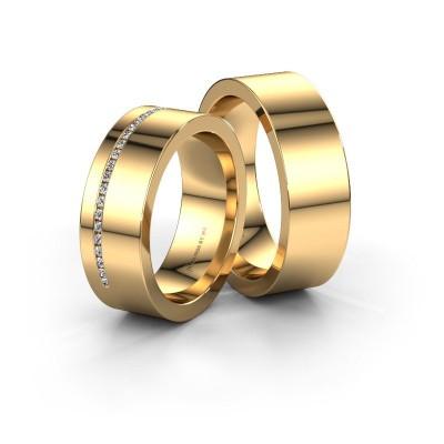Foto van Huwelijksringen set WH0143LM17BP ±7x2 mm 14 karaat goud diamant 0.008 crt
