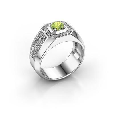 Foto van Heren ring Pavan 375 witgoud peridoot 5 mm