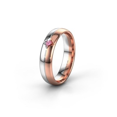 Wedding ring WH0221L35X 585 rose gold pink sapphire ±5x1.5 mm