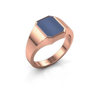 Zegelring Lars 1 F 375 rosé goud blauw lagensteen 10x8 mm