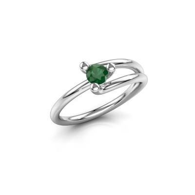 Foto van Verlovingsring Roosmarijn 585 witgoud smaragd 4 mm