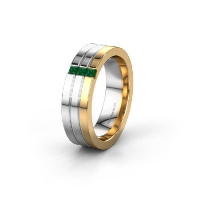 Wedding ring WH0428L16BP 585 gold emerald ±0.24x0.08 in