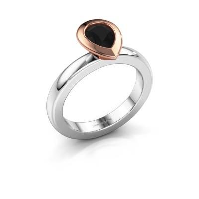 Stapelring Trudy Pear 585 witgoud zwarte diamant 0.78 crt
