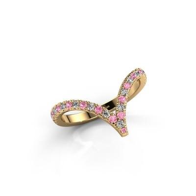 Ring Mirtha 375 goud roze saffier 1.5 mm