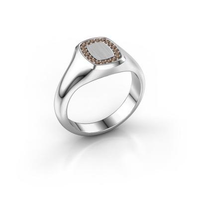 Men's ring Floris Cushion 1 925 silver brown diamond 0.15 crt