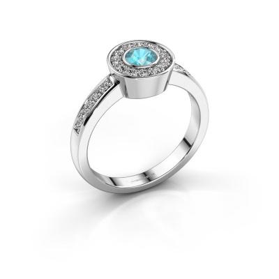 Ring Adriana 2 585 witgoud blauw topaas 4 mm