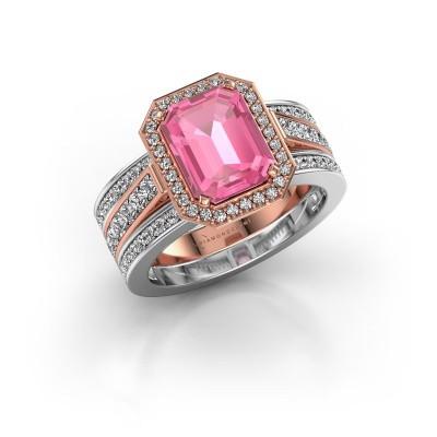 Foto van Ring Dodie 3 585 rosé goud roze saffier 9x7 mm