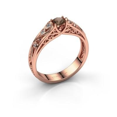 Foto van Ring Quinty 375 rosé goud rookkwarts 4 mm