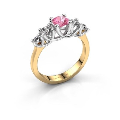 Engagement ring Jet 585 gold pink sapphire 5 mm