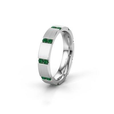 Huwelijksring WH2132L14BM 925 zilver smaragd ±4x2.2 mm