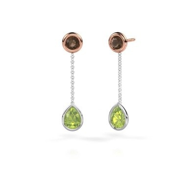 Picture of Drop earrings Ladawn 585 white gold peridot 7x5 mm