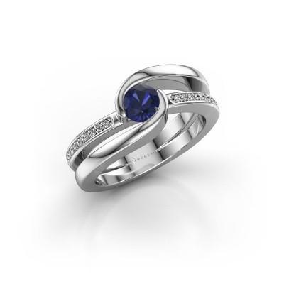 Foto van Ring Xenia 2 925 zilver saffier 5 mm