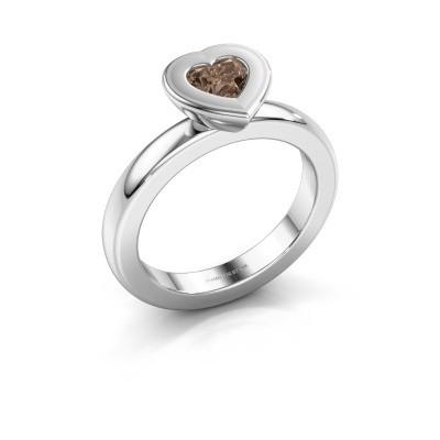 Stapelring Eloise Heart 925 zilver bruine diamant 0.50 crt
