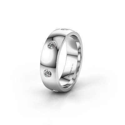 Wedding ring WH0105L26BP 925 silver zirconia ±0.24x0.08 in