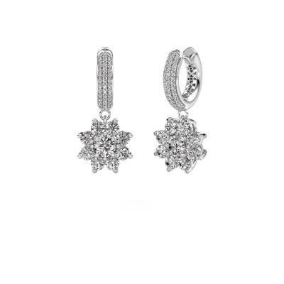 Picture of Drop earrings Geneva 2 585 white gold zirconia 4.5 mm