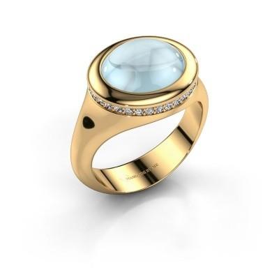 Foto van Ring Lesli ovl 375 goud aquamarijn 12x10 mm