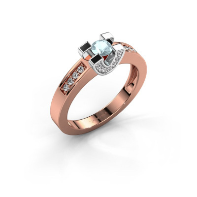 Verlovingsring Jasmijn 2 585 rosé goud aquamarijn 4 mm