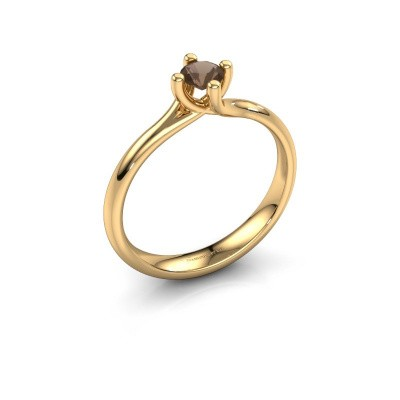 Foto van Verlovingsring Dewi Round 375 goud rookkwarts 4 mm