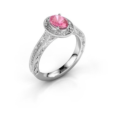 Verlovingsring Alice OVL 950 platina roze saffier 7x5 mm