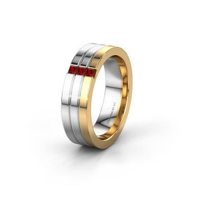 Wedding ring WH0428L16BP 585 gold garnet ±6x2 mm