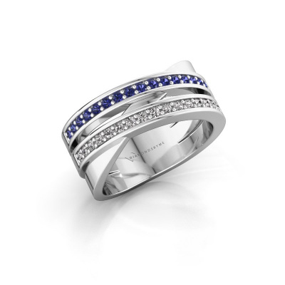 Ring Margje 585 white gold sapphire 1.3 mm