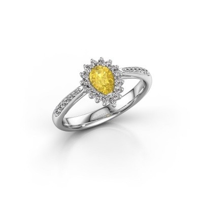 Picture of Engagement ring Chere 2 585 white gold yellow sapphire 6x4 mm