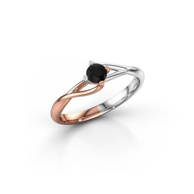 Picture of Engagement ring Paulien 585 rose gold black diamond 0.30 crt