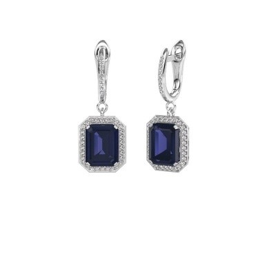 Picture of Drop earrings Dodie 2 585 white gold sapphire 9x7 mm