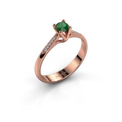 Promise ring Janna 2 375 rosé goud smaragd 4 mm
