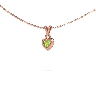 Picture of Pendant Charlotte Heart 375 rose gold peridot 4 mm