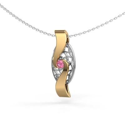 Hanger Darleen 585 goud roze saffier 3 mm