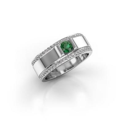 Foto van Herenring Danillo 950 platina smaragd 4.2 mm