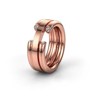 Foto van Trouwring WH6018L 585 rosé goud diamant ±8x3 mm