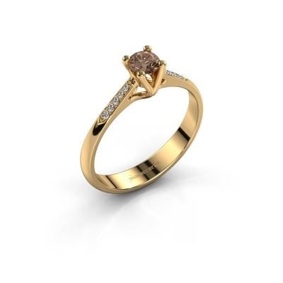 Promise ring Janna 2 375 goud bruine diamant 0.25 crt