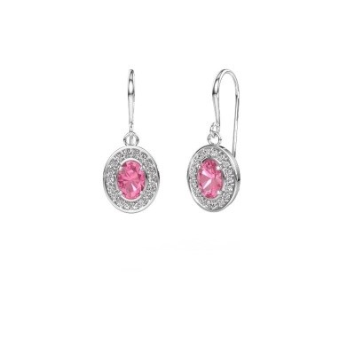 Drop earrings Layne 1 950 platinum pink sapphire 6.5x4.5 mm