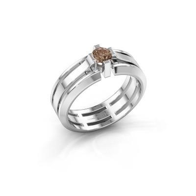 Heren ring Sem 950 platina bruine diamant 0.40 crt