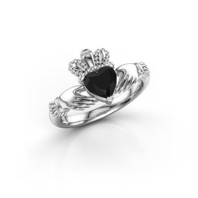 Foto van Ring Claddagh 2 950 platina zwarte diamant 0.96 crt