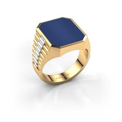 Foto van Rolex stijl ring Brent 4 585 goud lapis lazuli 16x13 mm