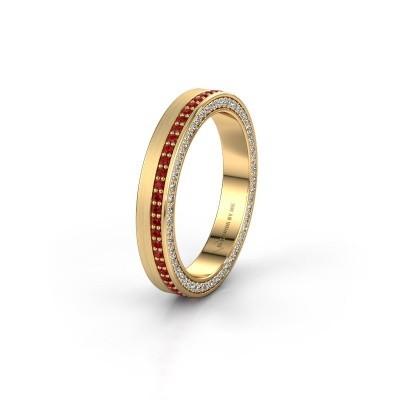 Trouwring WH2214L15BM 375 goud robijn 1 mm ±5x2 mm