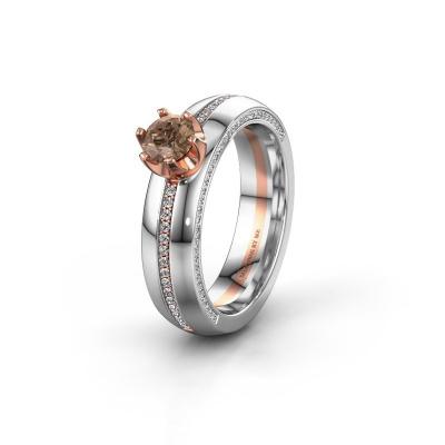 Huwelijksring WH0416L25E 585 rosé goud bruine diamant ±5x2.6 mm