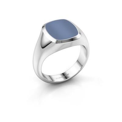 Foto van Zegelring Benjamin 2 375 witgoud licht blauwe lagensteen 13x11 mm