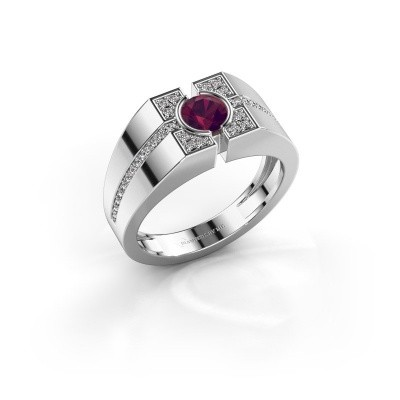 Men's ring Thijmen 925 silver rhodolite 5 mm